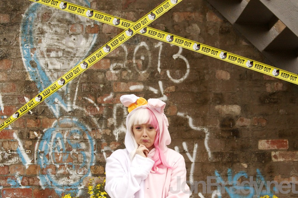 Photo of my Monomi cosplay, featuring the Dangan Ronpa tape. Photo by Jon Brady Photography. 2015.